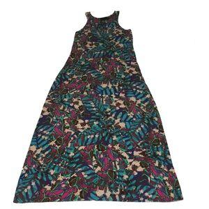 Cynthia Rowley Maxi Dress Multicolor Palm Print